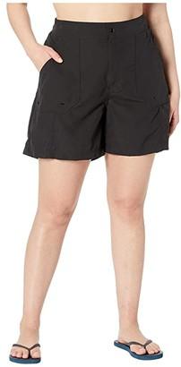 Maxine of Hollywood Swimwear Plus Size Solids Woven Long Boardshort (Black) Women's Swimwear