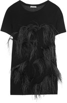 Nina Ricci Feather-embellished jersey top