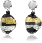 Antica Murrina Veneziana Moretta Pastel Glass Beads w/24kt Gold and Silver Leaf Earrings