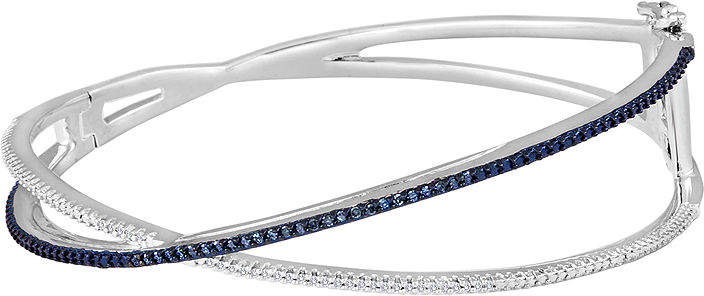 JCPenney FINE JEWELRY 1/10 CT. T.W. White and Color-Enhanced Blue Diamond Crisscross Bangle Bracelet