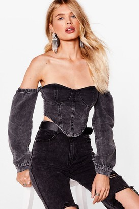 Nasty Gal Womens Corset Your Standards High Off-the-Shoulder Top - Black