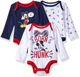 Disney Baby Boys' Mickey Mouse 3 Pack Long Sleeve Bodysuit
