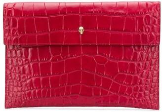 Alexander McQueen Crocodile-Effect Skull Clutch Bag