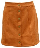 Come On Comeon Women's Vintage High Waist Bodycon Faux Suede Mini Skirt
