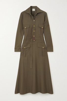 Giuliva Heritage Collection Net Sustain Space For Giants The Felicity Belted Shirt Dress - Green