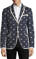Gucci Tipped Cotton Blazer w/ Bees & Stars