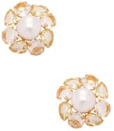 Bounkit Mabe Pearl, Quartz & Citrine Stud Earrings