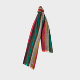 Paul Smith Men's Multi-Coloured Chevron 'Artist Stripe' Lambswool Scarf