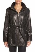 Ellen Tracy Belted Front Zip Genuine Leather Coat