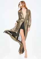 Bebe Gold Metallic Shorts Gown