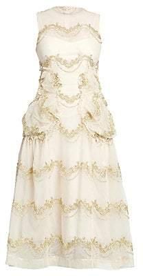 Simone Rocha Women's Sleeveless Smocked A-Line Dress