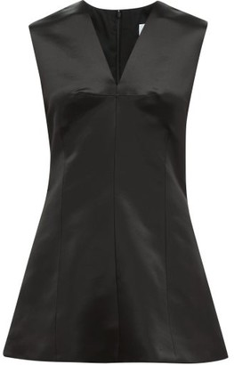 Marina Moscone V-neck Wool-blend Satin Top - Black