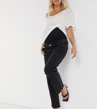 ASOS DESIGN Maternity high-rise stretch 'slim' straight-leg jeans in washed black with over-the-bump band