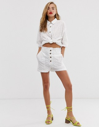 In The Style x Dani Dyer broderie lace paperbag waist shorts in white