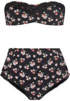 Stella McCartney Vintage Floral Crochet-trimmed Printed Bandeau Bikini - Black