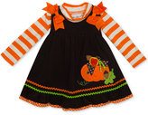 Rare Editions 2-Pc. Striped Bodysuit and Corduroy Pumpkin Jumper Set, Baby Girls (0-24 months)