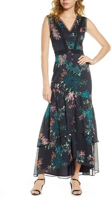 Harlyn Floral & Lace High/Low Maxi Dress
