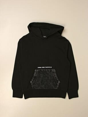 Diesel Hooded Sweatshirt With Denim Pockets