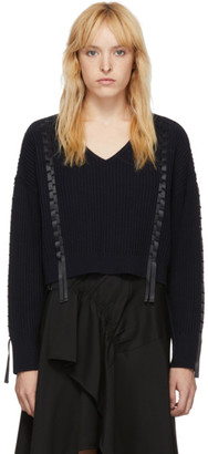3.1 Phillip Lim Navy Cropped Weave Sweater