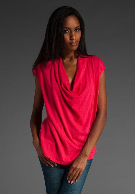 Bobi Light Weight Jersey Drape Neck Top