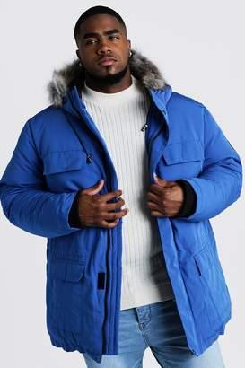 boohoo Mens Blue Big & Tall Faux Fur Hooded Arctic Parka, Blue