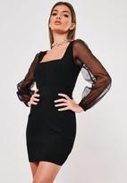 Missguided Premium Black Bandage Organza Sleeve Mini Dress