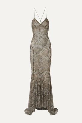 Norma Kamali Open-back Snake-print Stretch-gauze Maxi Dress - Silver
