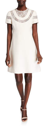 Valentino Short-Sleeve Lace-Inset Babydoll Dress