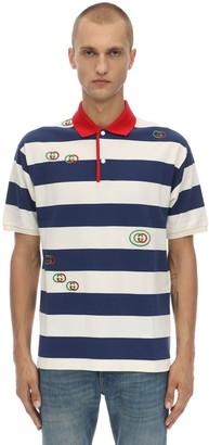 Gucci Logo Cotton Pique Polo Shirt