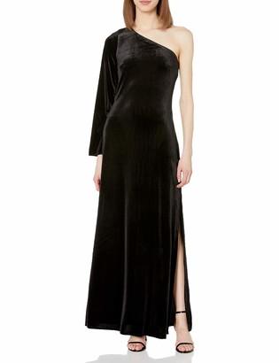 French Connection Women's Aurore Velvet One Shoulder Black Long Dress 4