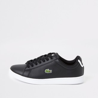 Lacoste River Island Womens Black leather logo trainers