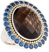 Lagos Smoky Quartz Ring with Blue Sapphire Halo, Size 7