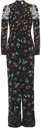 RED Valentino Lace-paneled Floral-print Stretch-silk Jumpsuit