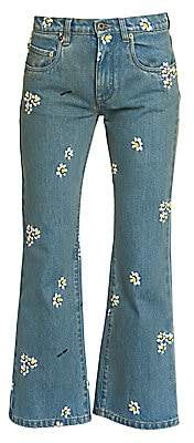 Miu Miu Women's Floral-Embroidered Cropped Flare Jeans