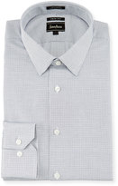 Neiman Marcus Trim-Fit Dot-Print Dress Shirt, Blue/Black