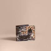 Burberry British Seaside Print Leather Bifold Wallet