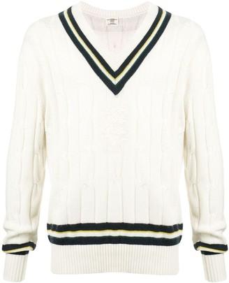 Kent & Curwen V-neck striped jumper