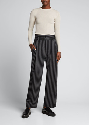 Meryll Rogge Stripe Wide-Leg Wool Trousers