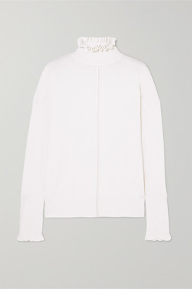 Chloé Button-detailed Ruffled Cashmere Turtleneck Sweater - Ivory