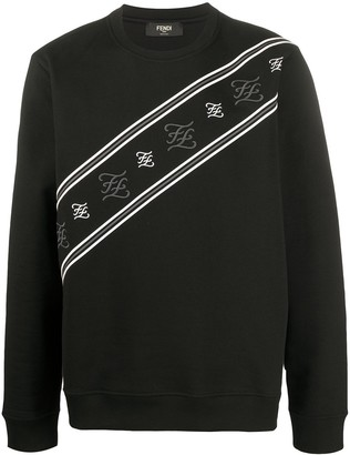 Fendi striped Karligraphy sweatshirt
