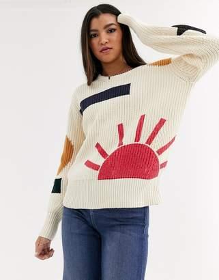 Maison Scotch patterned chunky knit jumper-Cream