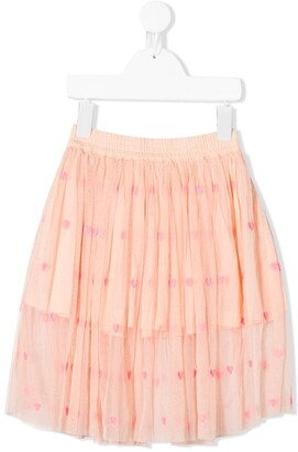 Stella McCartney Heart-Embroidered Tulle Skirt