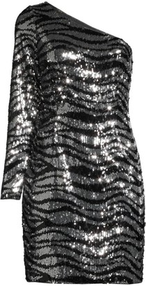 Aidan Mattox One-Shoulder Zebra Sequin Mini Dress