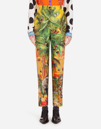 Dolce & Gabbana High-Waisted Pants In Shantung With Jungle Print