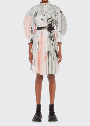 Alexander McQueen Printed Cocoon-Sleeve Shirtdress