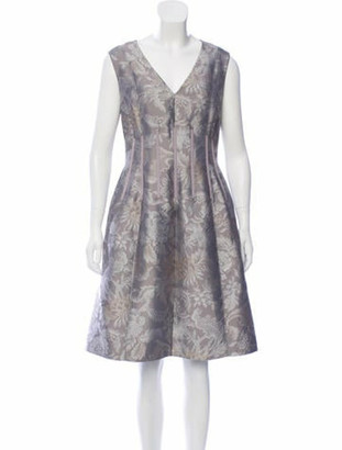 Oscar de la Renta Floral Print Sleeveless Dress Grey