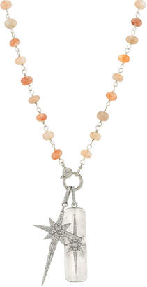 Sheryl Lowe Sunstone Necklace w/ Diamond North Star Pendant & Dog Tag