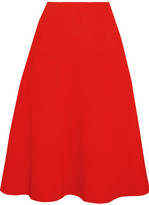 Victoria Beckham Ribbed Pointelle-knit Skirt - Tomato red