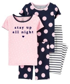 Carter's Big Girls 4 Piece Polka Dot Snug Fit Pajama Set