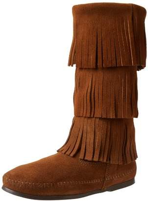 Minnetonka Women's Calf Hi 3-Layer Fringe Mocassins Boots, Dusty Brown), 40 EU